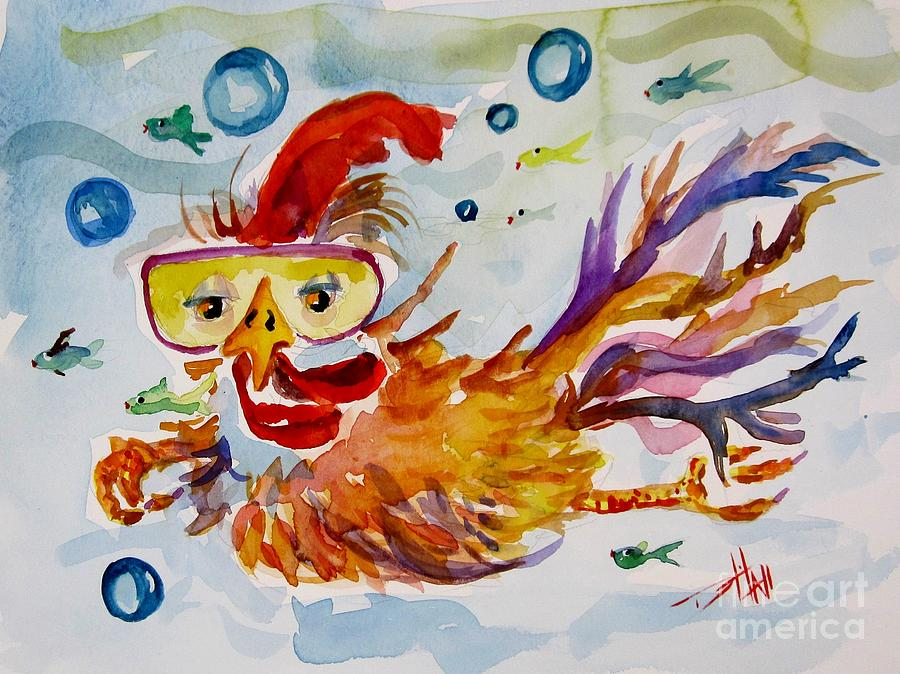Swimming chicken painting by delilah smith for Swimming chicken