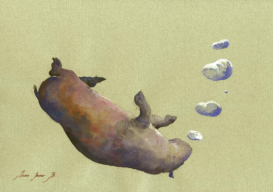 Swimming Hippo With Bubbles Painting by Juan Bosco