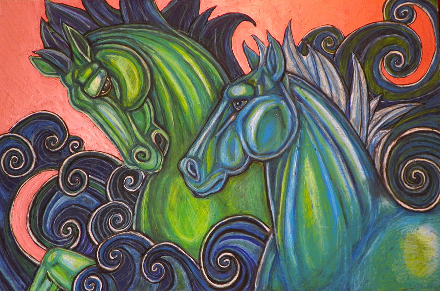 Horse Pastel - Swimming Horses  by Lynnette Shelley
