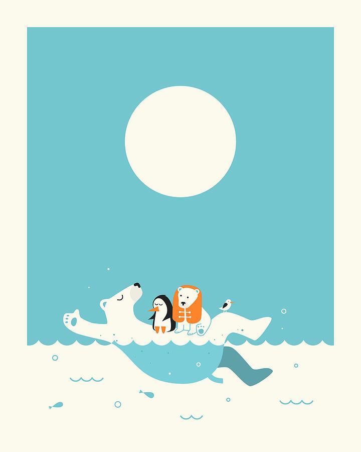 Polar Bears Digital Art - Swimming Lessons 1 by Jazzberry Blue