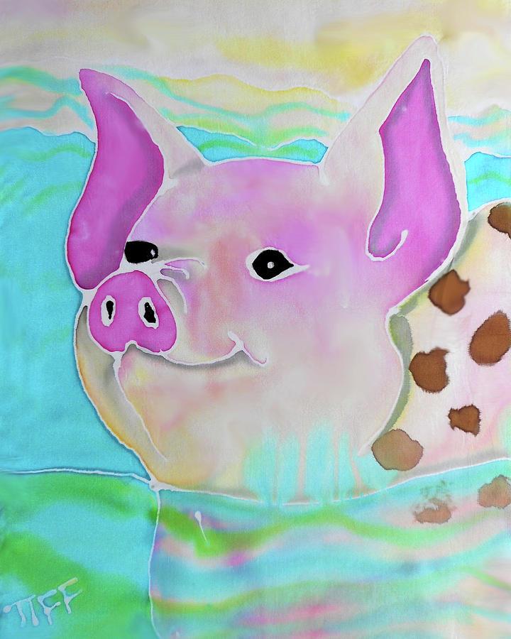 Bahamas Painting - Swimming Piggy by Tiffany Barrett