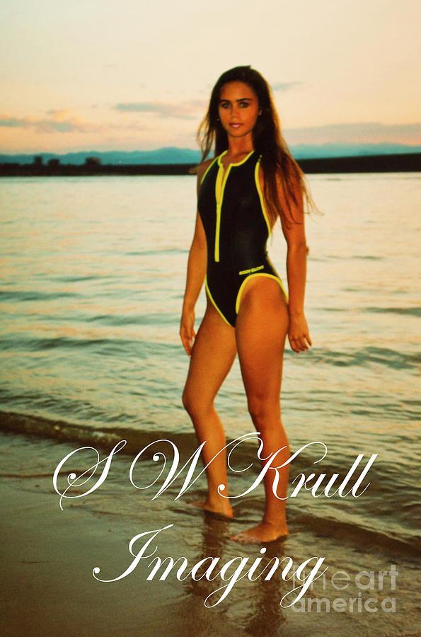 Swimsuit Girl Ad Sunset Large Print Photograph