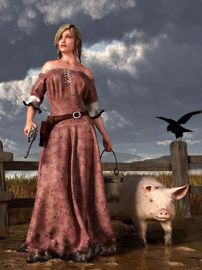 Pig Digital Art - Swineherdess by Daniel Eskridge