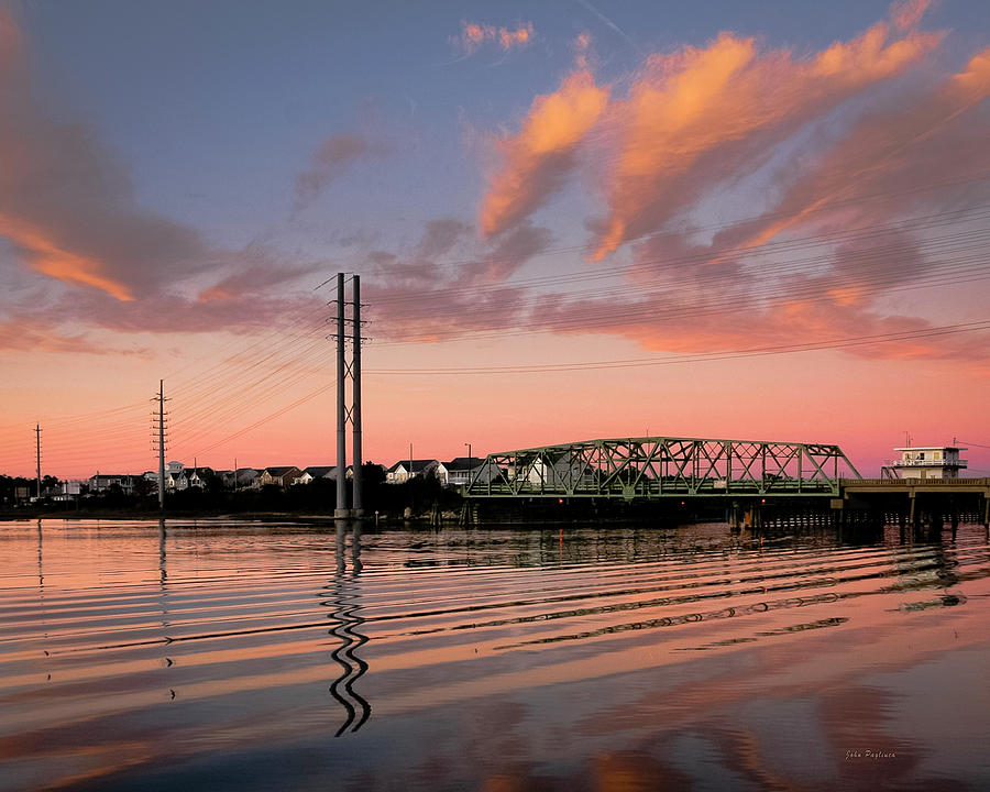 Swing Bridge at Sunset, Topsail Island, North Carolina by John Pagliuca