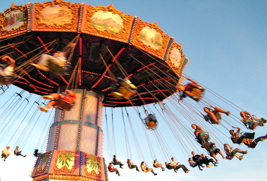 Country Fair Photograph - Swinging at the Fair by Caroline Reyes-Loughrey