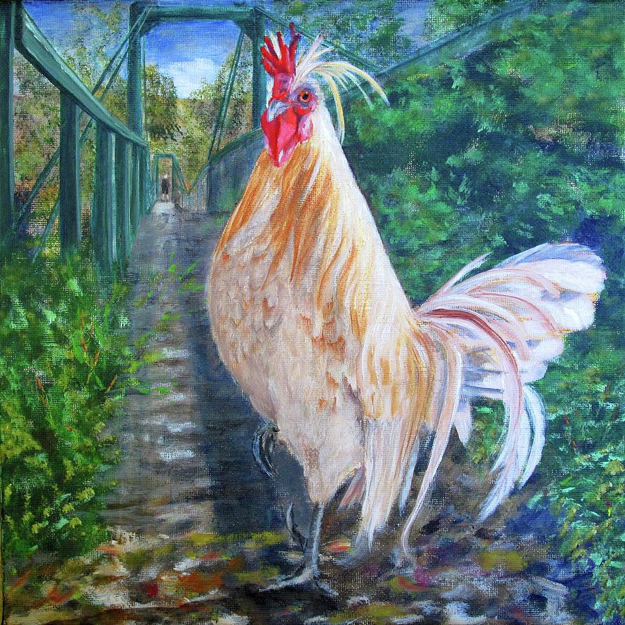 swinging bridge chicken painting by karen peterson