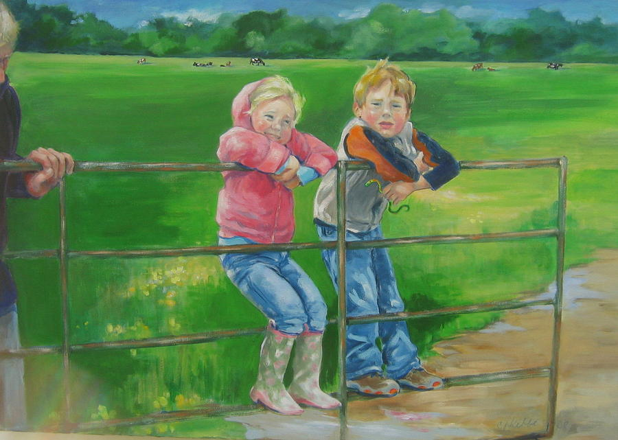 Children Painting - Swinging On The Gate by Carolyn Favor Kibbe