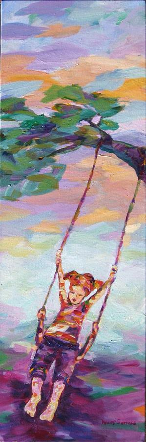 Child Swinging Painting - Swinging With Sunset Energy by Naomi Gerrard