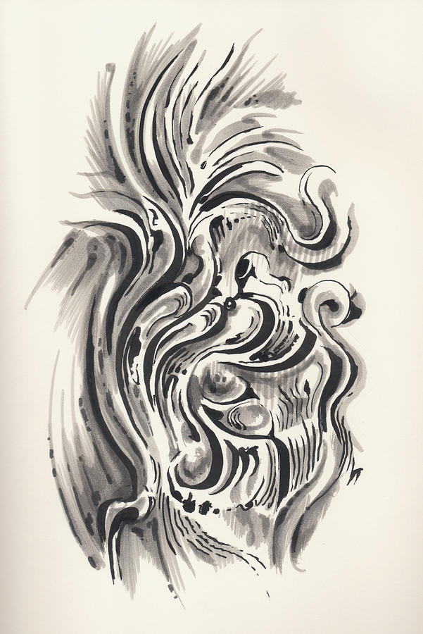 Pen And Ink Drawing - Swirl by Keith A Link