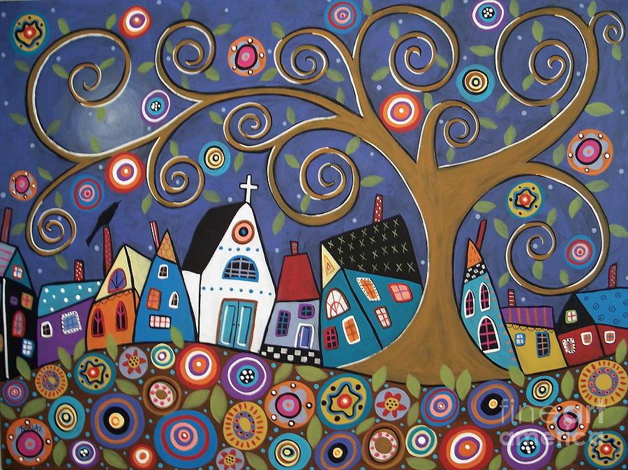 Landscape Painting Painting - Swirl Tree Village by Karla Gerard