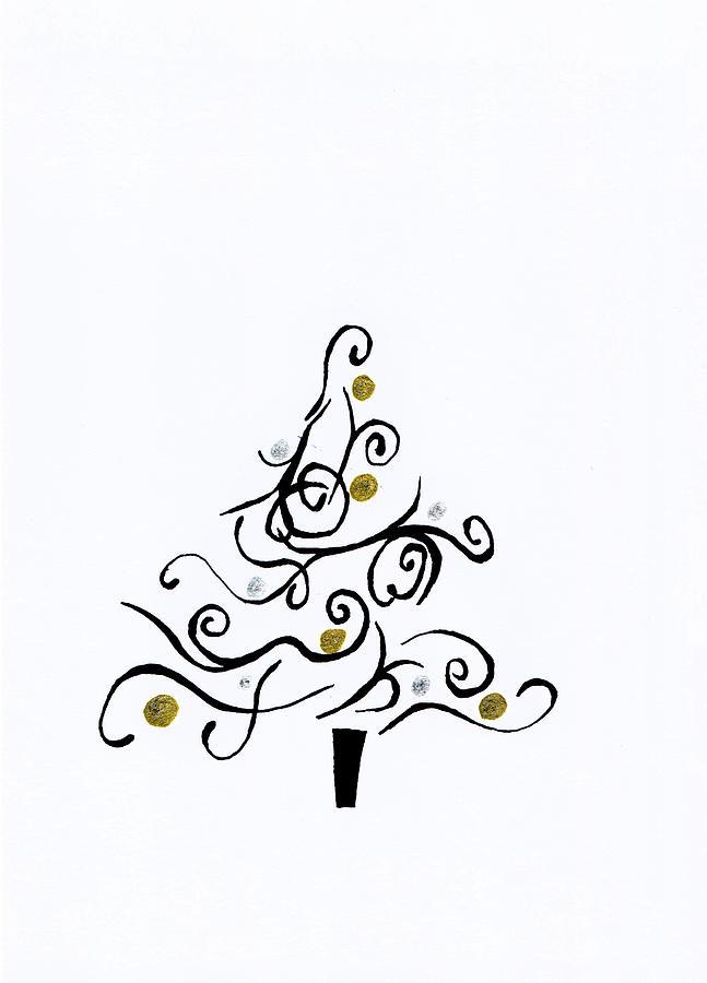Christmas Drawing - Swirled Tree by Kayleigh Semeniuk