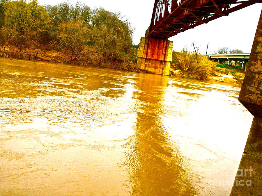 Bridge Photograph - Swirling Good Water And Brazos Bridge by Chuck Taylor