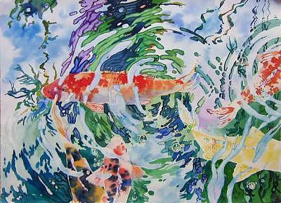 Koi Painting - Swirls by H Lee Shapiro