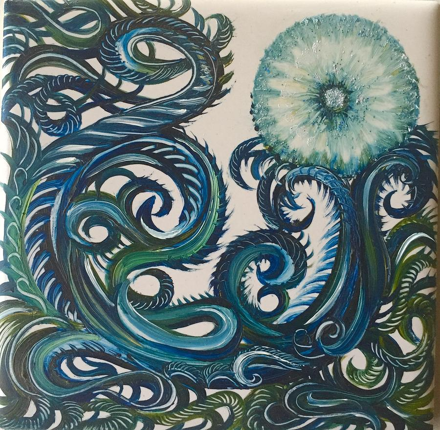 Swirly Painting - Swirly Dandelion by Karen Doyle