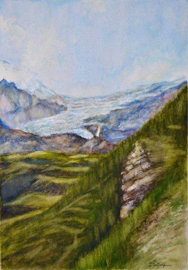 Glacier Painting - Swiss Glacier by Dai Wynn