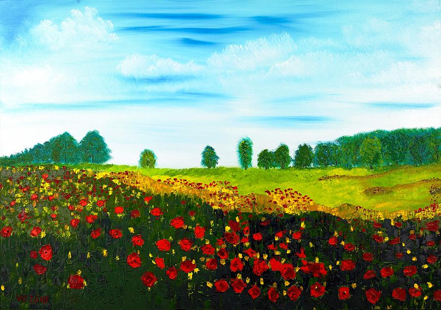 Landscape Painting - Swiss Poppies by Valerie Ornstein