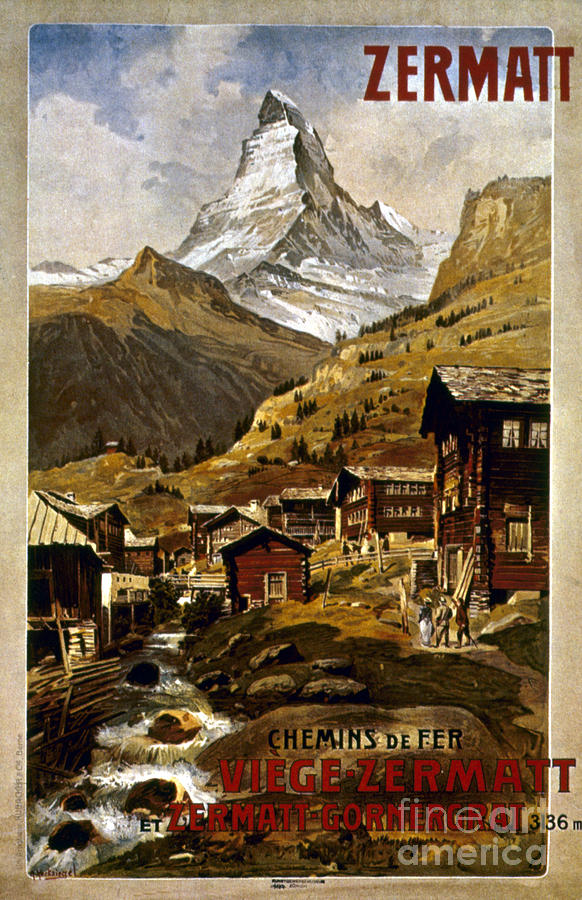 1898 Painting - Swiss Travel Poster, 1898 by Granger