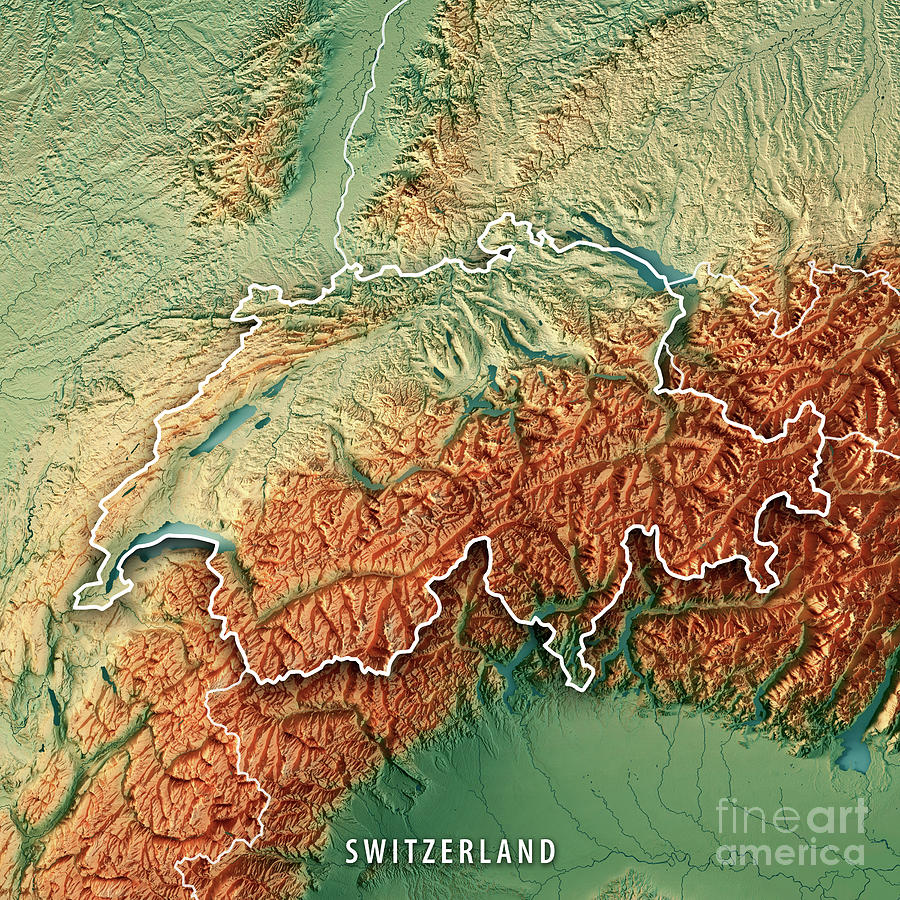 Switzerland Country 3d Render Topographic Map Border Digital Art By
