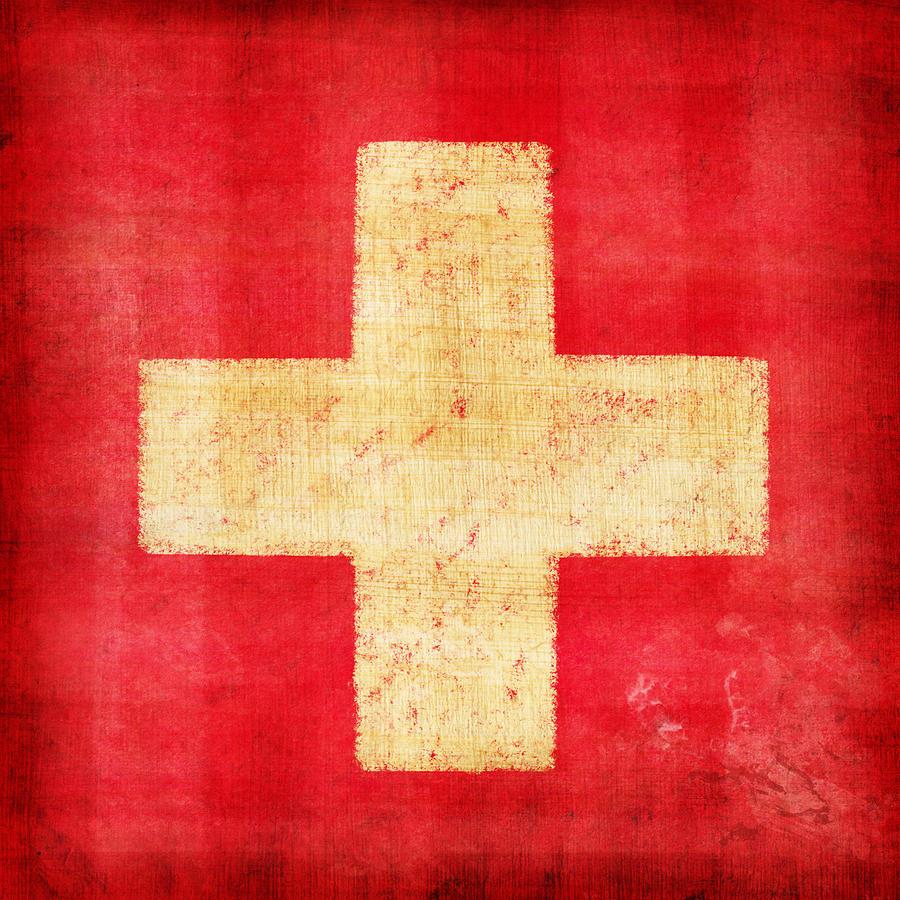 Abstract Photograph - Switzerland Flag by Setsiri Silapasuwanchai