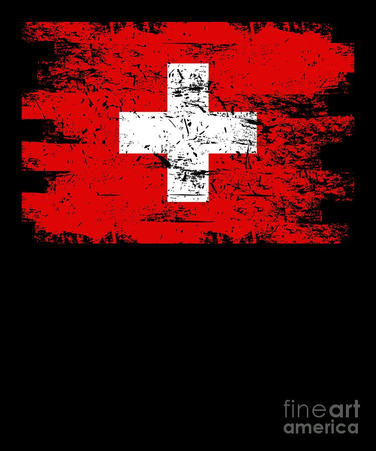 Patriotic Digital Art - Switzerland Gift Country Flag Patriotic Travel Shirt Europe Light by J P