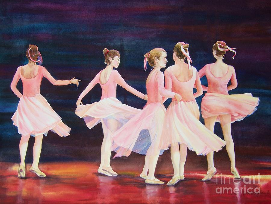 Five Ballet Dancers Painting - Swivel Circle Spin Whirl And Twirl by Deb Magelssen