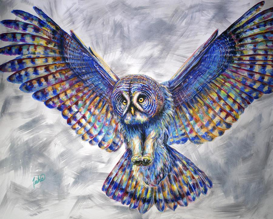 Owl Painting - Swoop by Teshia Art