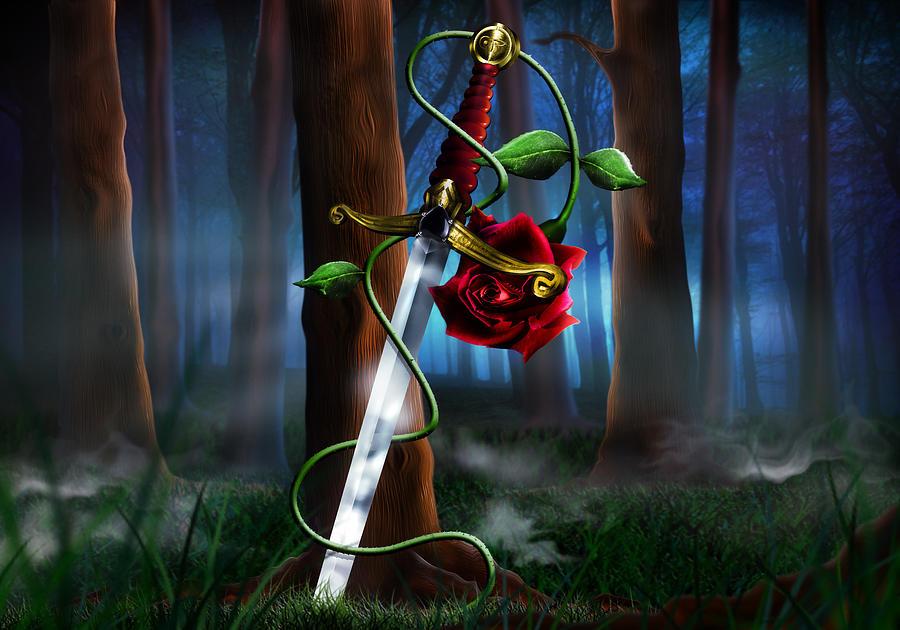 Sword And Rose Digital Art