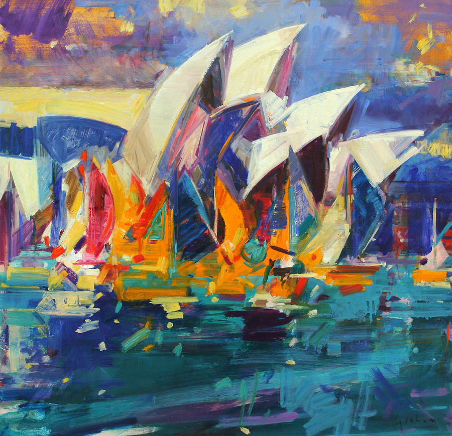 Sydney painting sydney flying colours by peter graham