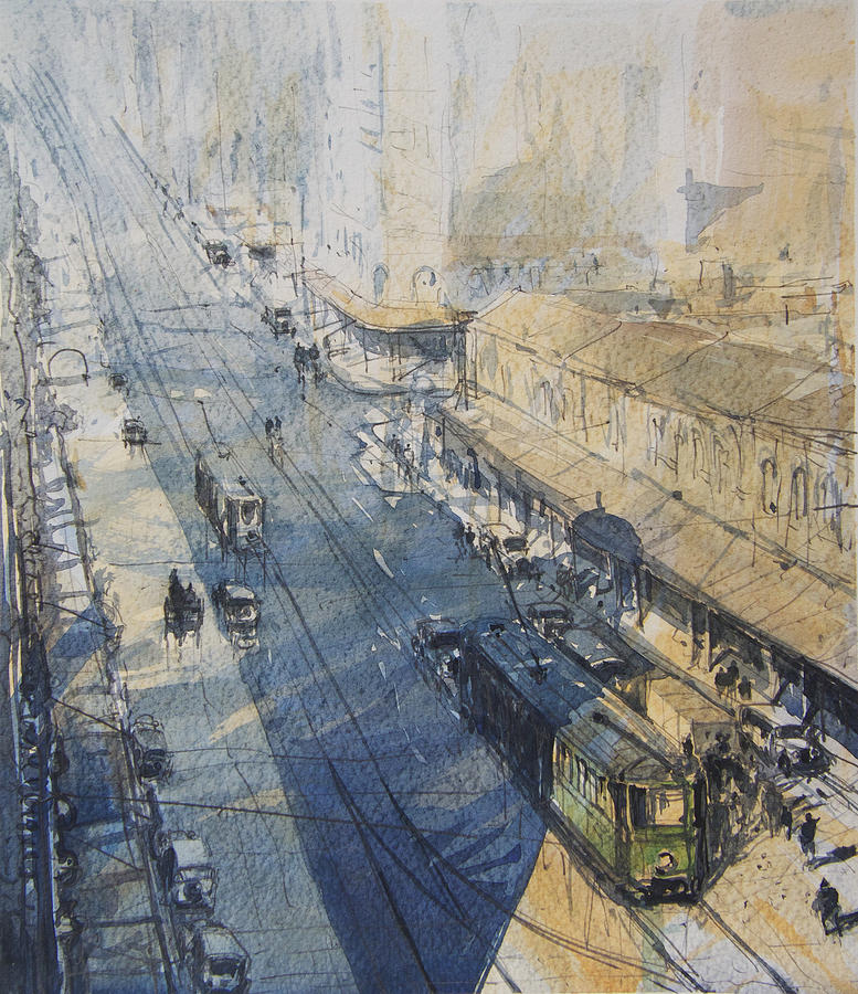 Sydney Painting - Sydney, George St. In 1930 by Tony Belobrajdic