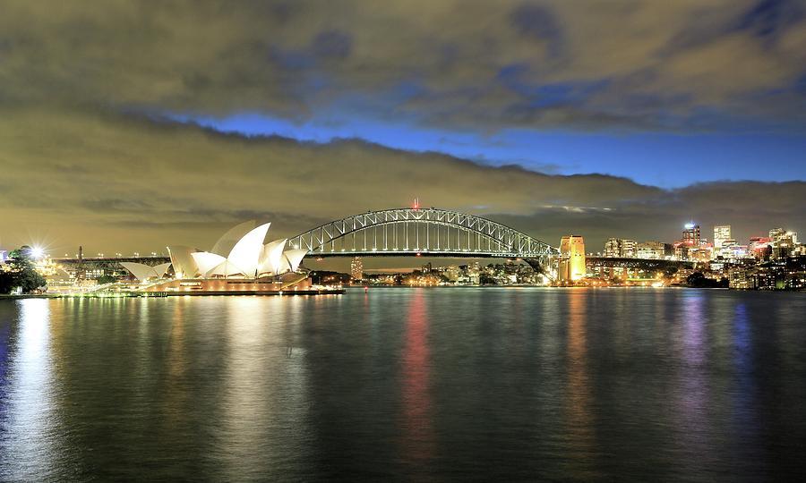 Landscape Photograph - Sydney Harbor at Blue Hour by M C Hood