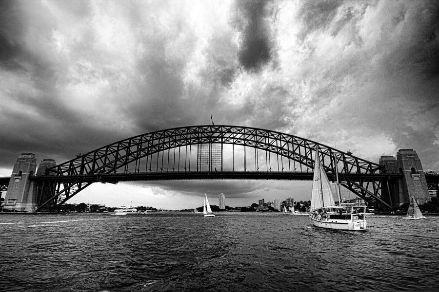 Sydney harbor bridge photograph sydney harbor bridge black and white v2 by douglas barnard