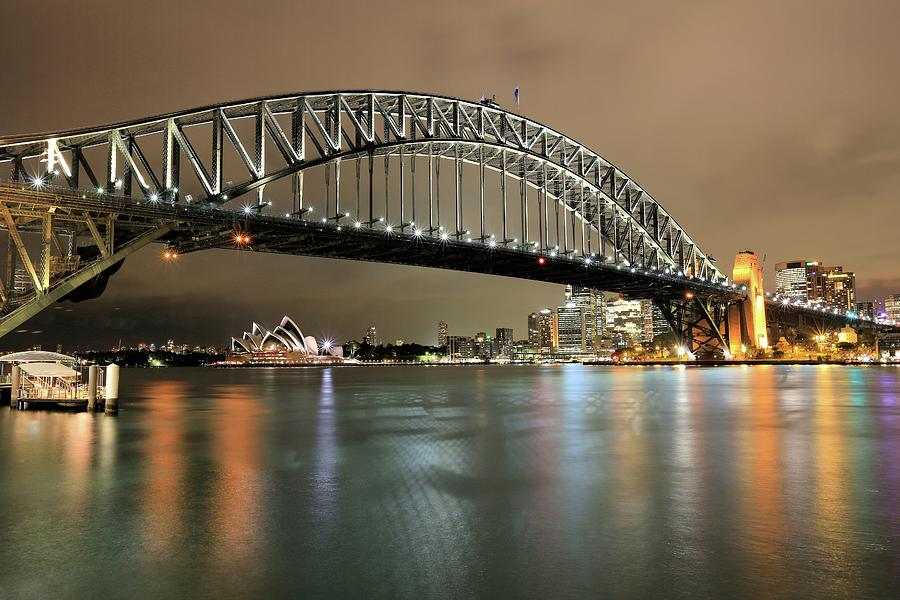 Landscape Photograph - Sydney Harbour at Night by M C Hood