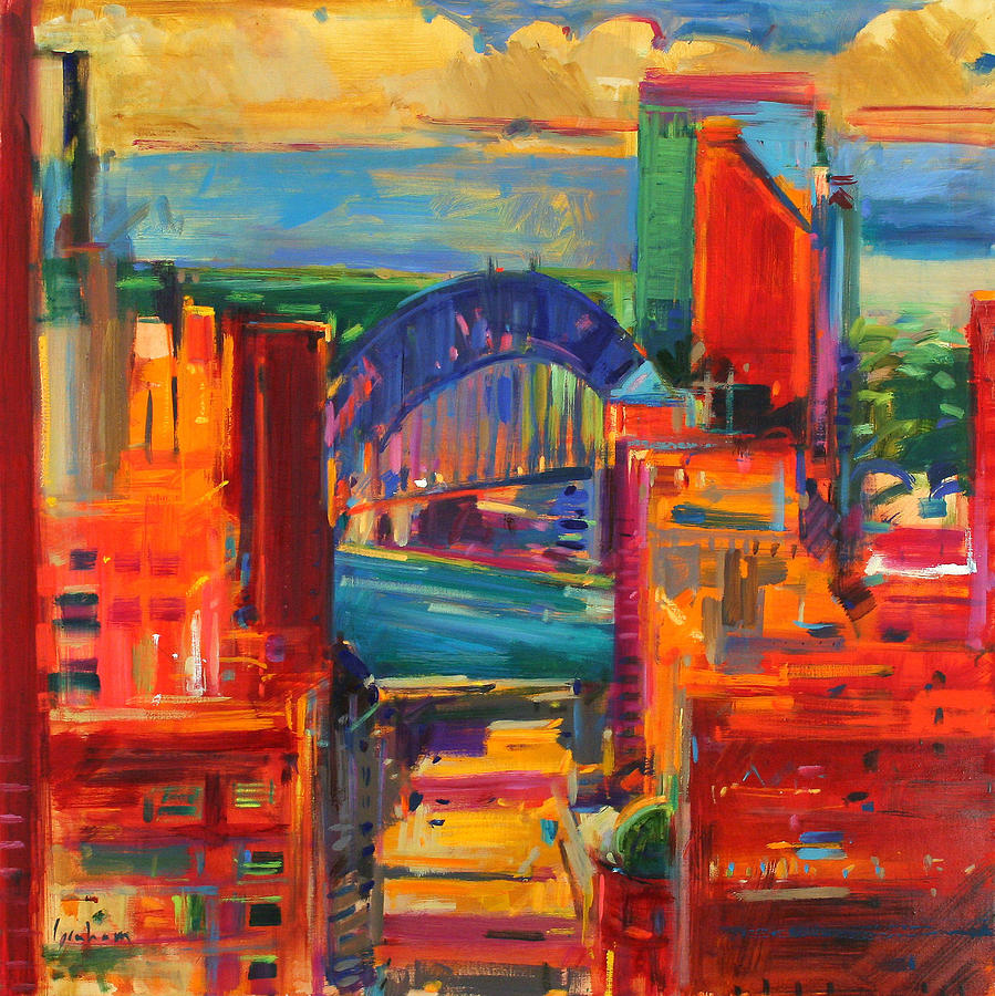Harbor painting sydney harbour bridge by peter graham