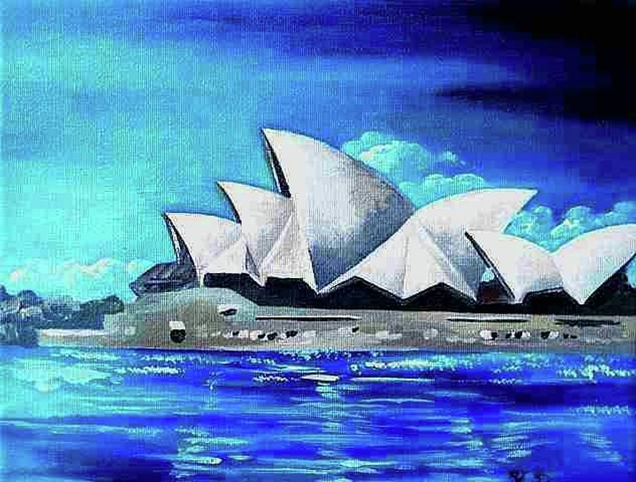 Australia painting sydney opera house i by yelena revis