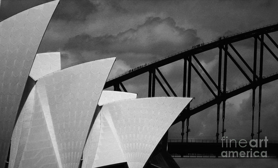 Sydney Opera House Photograph - Sydney Opera House with Harbour Bridge by Sheila Smart Fine Art Photography