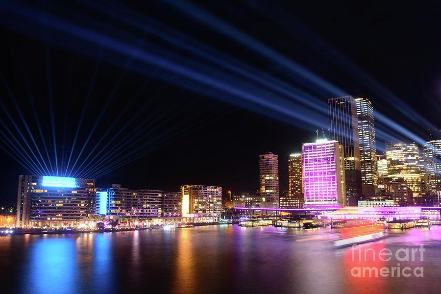 Sydney Skyline Illuminated By Kaye Menner Photograph