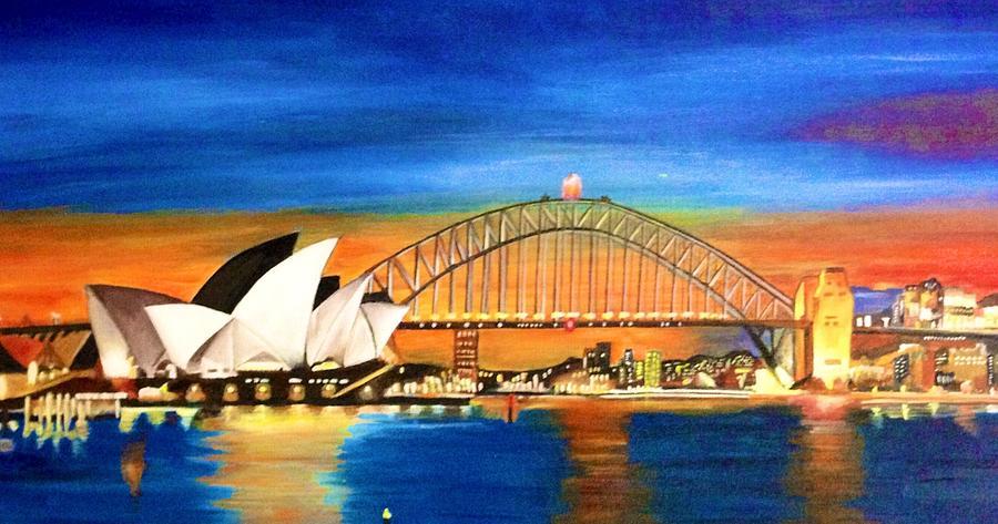 sydney skyline painting by shernaz pochkhanawala