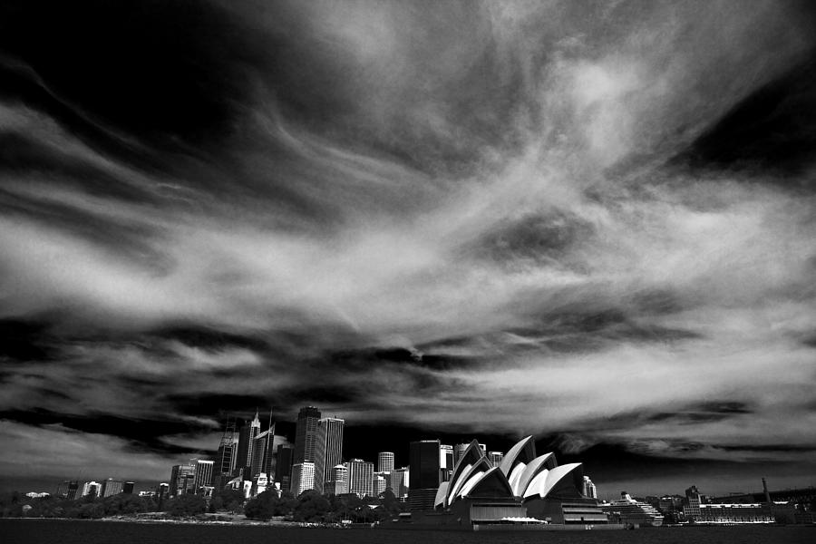 Sydney Photograph - Sydney skyline with dramatic sky by Sheila Smart Fine Art Photography