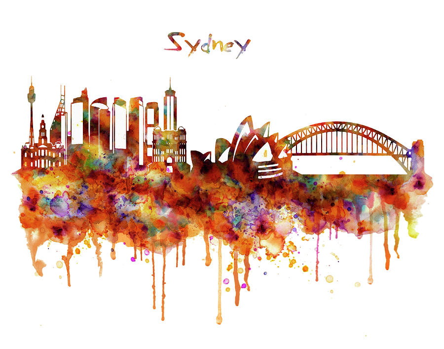 Sydney Watercolor Skyline Painting By Marian Voicu
