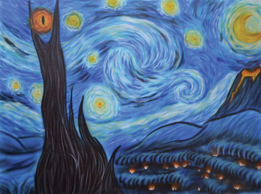 Airbrush Painting - Syfy- Starry Night In Mordor by Shawn Palek