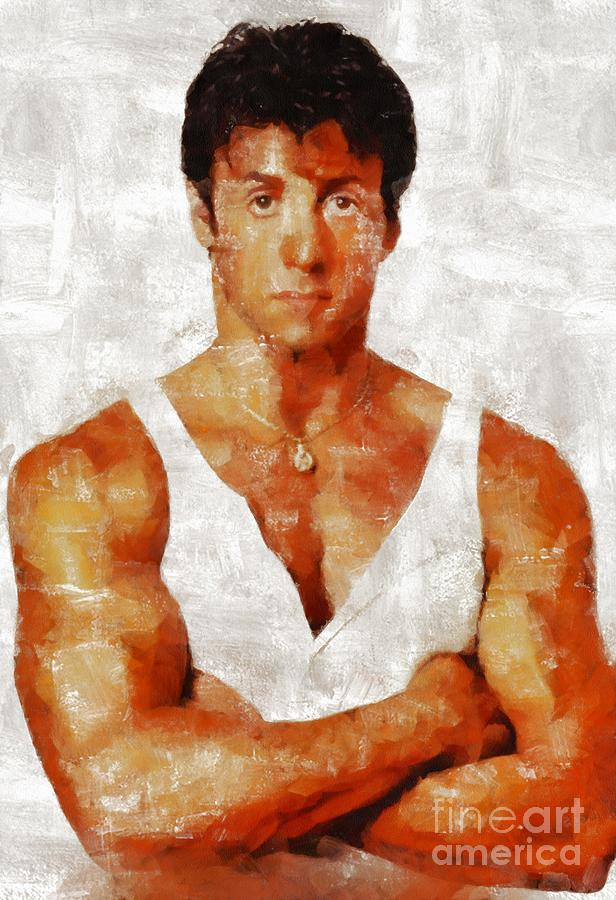 Sylvester Stallone, Hollywood Legend By Mary Bassett Painting