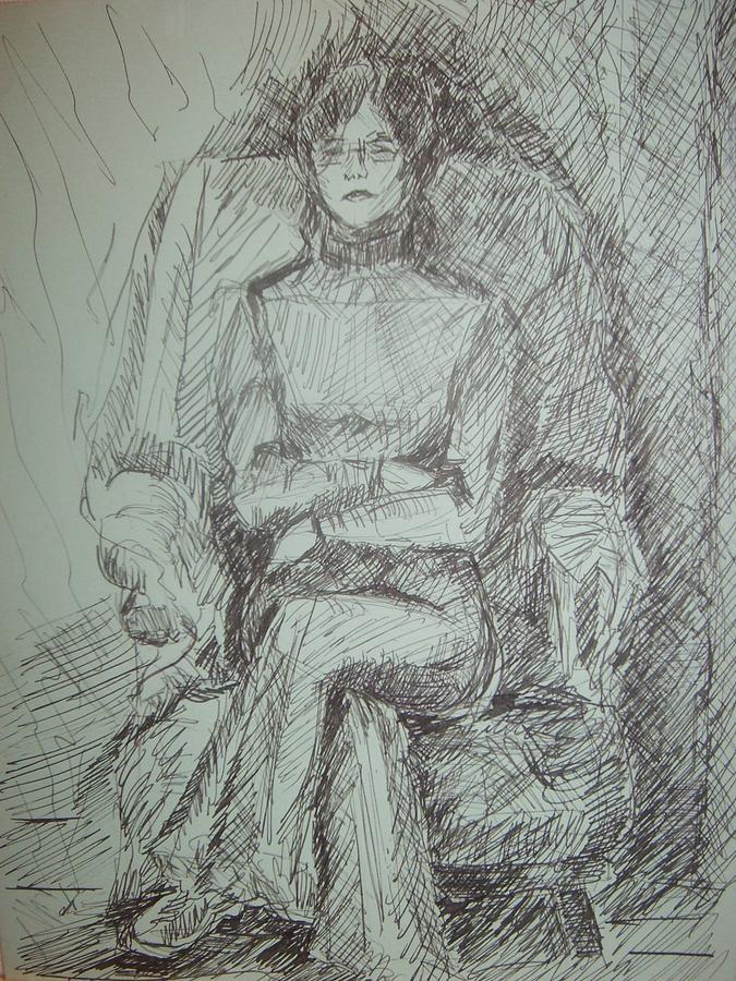 Sylvia Sitting In Chair Drawing by Joseph Sandora Jr