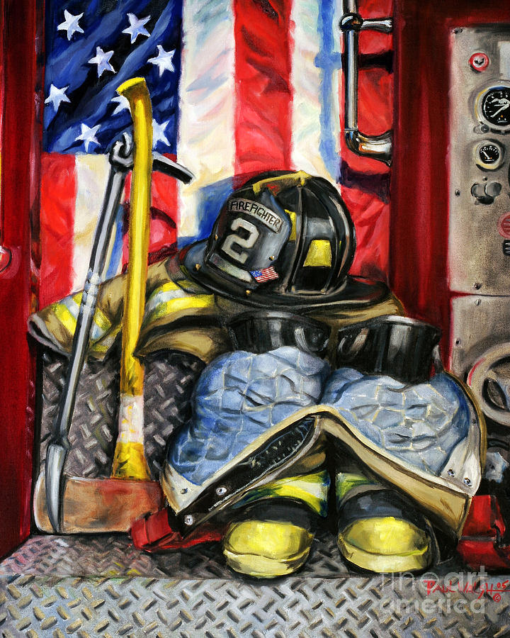 Firefighting Painting - Symbols Of Heroism by Paul Walsh