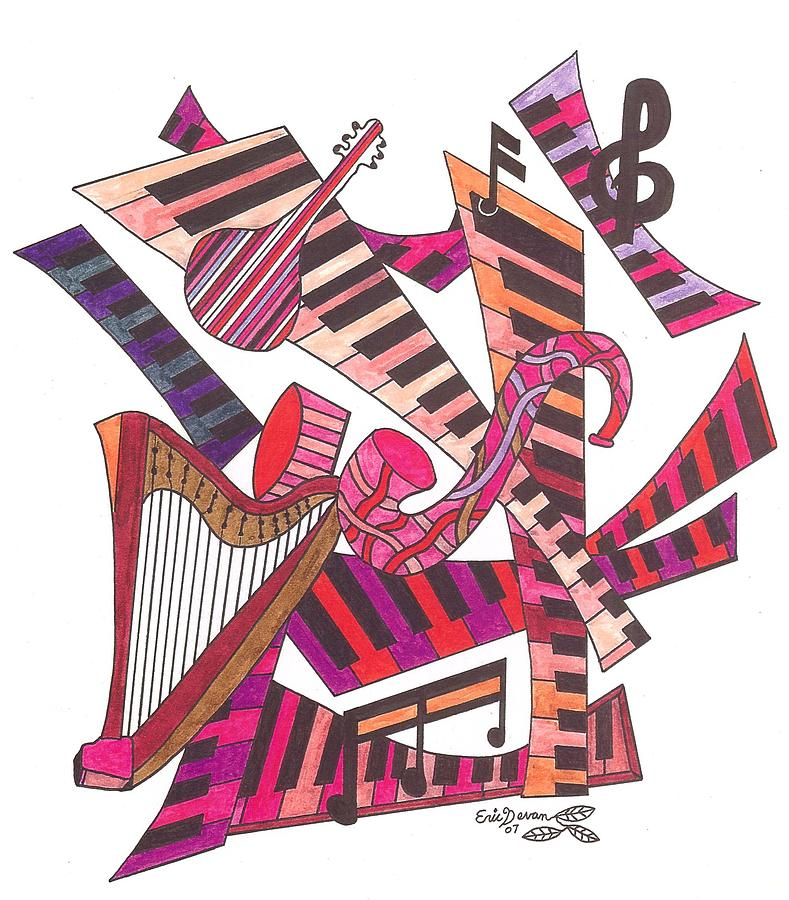 Music Drawing - Symphony  by Eric Devan