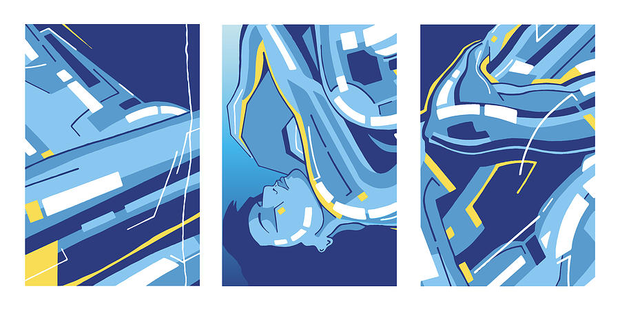 Symphony in Blue - Triptych 4 by David Hargreaves