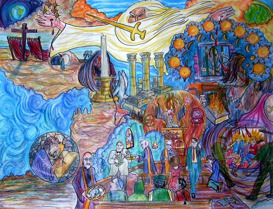 God Drawing - Synagogue Of Satan. by Richard  Hubal