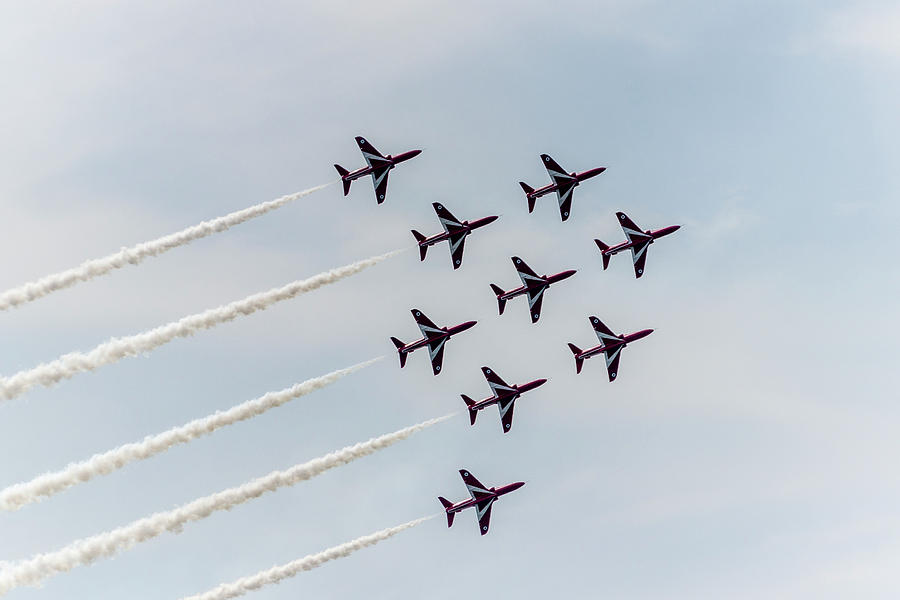 Red Arrows Photograph - Synchronised. by Angela Aird