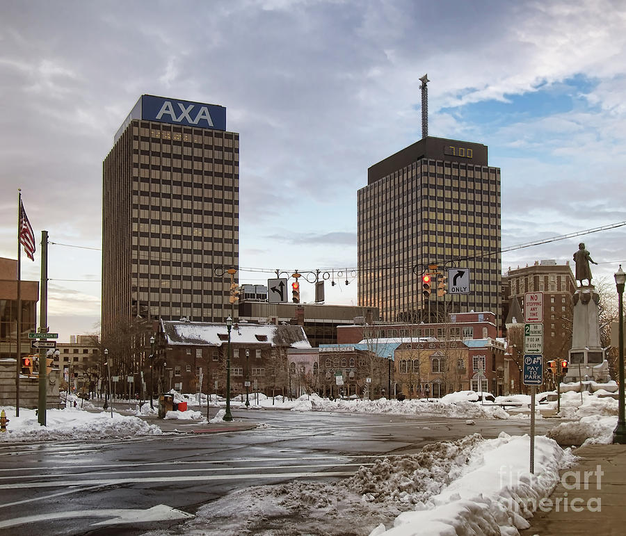 Snow Photograph - Syracuse Towers by Debra Millet
