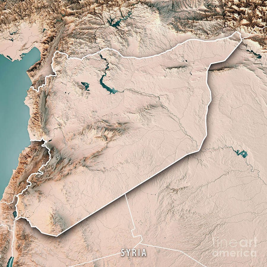 Syria Country 3d Render Topographic Map Neutral Border Digital Art