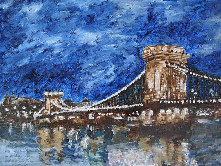 Landscape Painting - Szechenyi Chain Bridge Budapest by Agnes V
